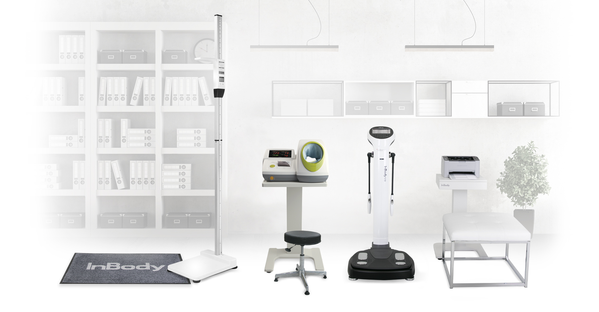 The InBody 570 in practice with BSM 170 stadiometer, InBody mat, printer, and ottoman
