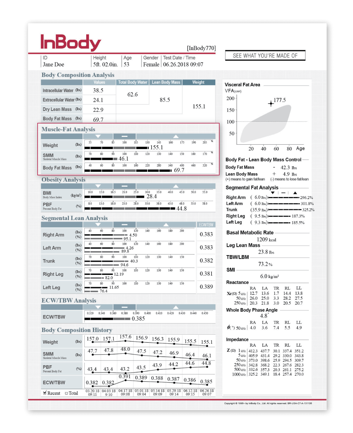 InBody 770 Result Sheet for rehabilitation industry with Muscle-Fat Analysis highlited